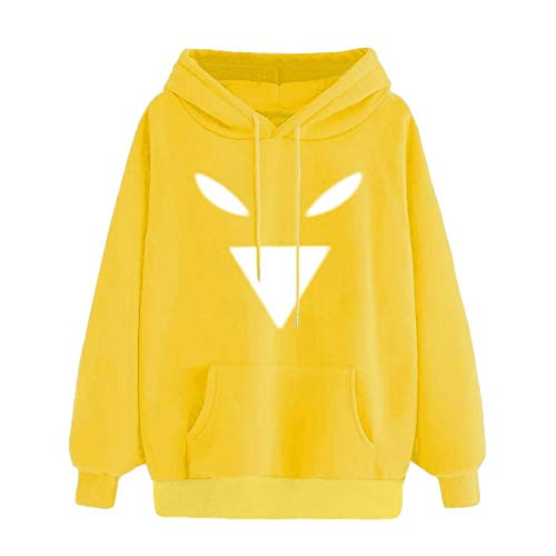DEATU Women Clearance Hooded,Ladies Teen Autumn Funny Emoticon Print Pocket Long Sleeve Sweatshirt Tops Blouse(Yellow 3,XL) from DEATU