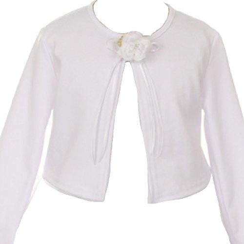 mere Sweater Flower Girl Bolero Jacket Cover White 8 (K13D3) ()