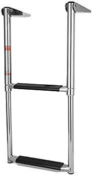 Yctze Boat Dock Ladder, 2 Steps Boat Ladder Folding Telescopic Stainless Steel for Pontoon Marine Yacht Upper