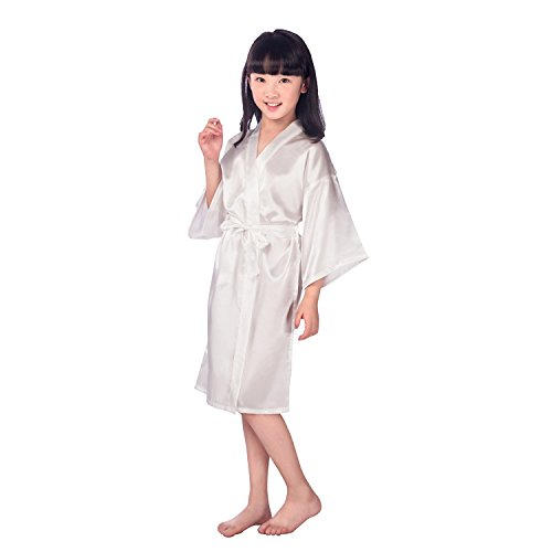Childrens Silk Stain Pure Kimono Wedding Dressing Gown Kimono Robes Bridal Lingerie Sleepwear