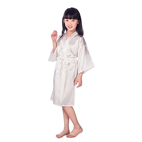 Children's Silk Stain Pure Kimono Wedding Dressing Gown Kimono Robes Bridal Lingerie Sleepwear]()