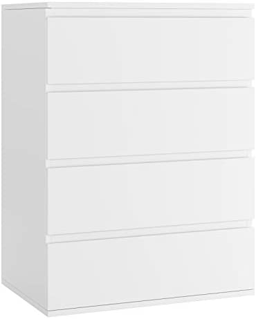 Homfa 4 Drawer Dresser, Modern Storage Chest with Wide Drawer Space, File Organizer End Table Tall Nightstand Accent Wood Frame for Home Office Entryway, 23.62L x 15.75W x 31.5H in, White