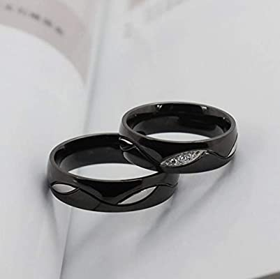 Titanium Steel Fashion Shining Diamond Wedding Gift Black Couple