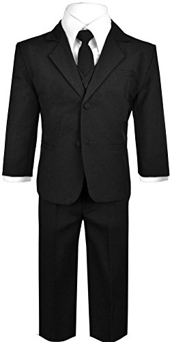 Boys Suit with Tie for toddlers and infants. (2T, black) -