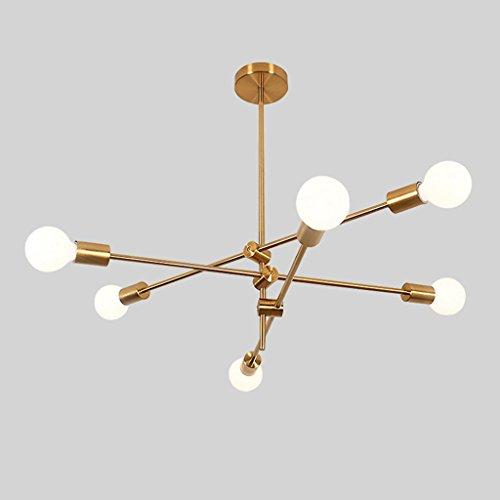 JLRQY Lámparas Modernas, Colgante Dorado Semi A RAS De Luz De Techo para Sala De Estar Restaurante Bar E27,6Lights