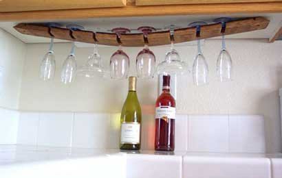 Napa Stemware Wine Glass - Under Cabinet Wine Barrel Stave Glass Rack By Wine Barrel Creations Inc.