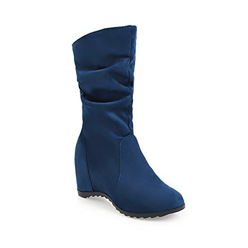 BalaMasa Womens Casual Pointed-Toe Slip-Resistant Wedges Suede Boots ABL09879 Blue