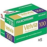 Fujifilm Fujichrome Velvia 100 Color Slide Film ISO 100, 35mm, 5 Rolls of 36 Exposures