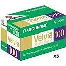 Fujifilm Fujichrome Velvia 100 Color Slide Film ISO 100, 35mm, 5 Rolls of 36 Exposures