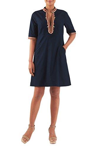 eShakti Women's Embellished Poplin Empire Shift Dress 3X-24W Tall Deep Navy (Poplin Empire Dress)
