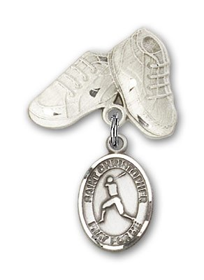 Sterling Silver Baby Badge with St. Christopher/Baseball Charm and Baby Boots Pin