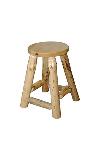 Rustic Pine Log Bar Stool - Amish Made in USA (Michael's Cherry Stain, Counter Height (24