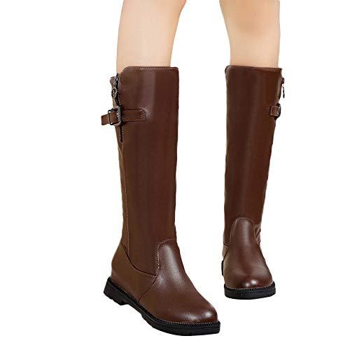 Clearance Farjing Women's Buckle-Strap Keep Warm Round Toe Shoes Non-slip Long Tube Boots(US:7.5,Khaki)