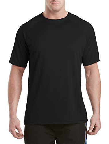 (Harbor Bay by DXL Big and Tall Swim Rash Guard T-Shirt, Black 4XL)