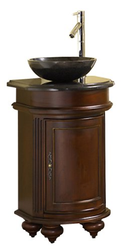 Kaco international 5300-2400-1005VesselGH Arlington 24-Inch Round Distressed Cherry Vanity with Gold Hill Granite Top and Vessel Sink