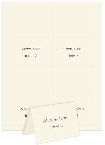 4up Printable Place Cards - Ecru, 25 pack - Ecru Place Card