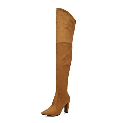 Gamuza y Sandalette Botas Brown Mujer Altas de Botas Rodilla Light Alto tacón Zapatos Botas DEDE Botas para de Altas Botas ZqxRparZ
