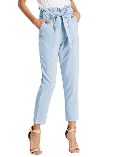 - GRACE KARIN Womens Casual Solid Color Pants Slim Fit Sport High Waist Trousers Light Blue S