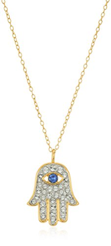 18k Yellow Gold Plated Sterling Silver Blue and White Hamsa Hand Necklace Made with Swarovski Crystal (18