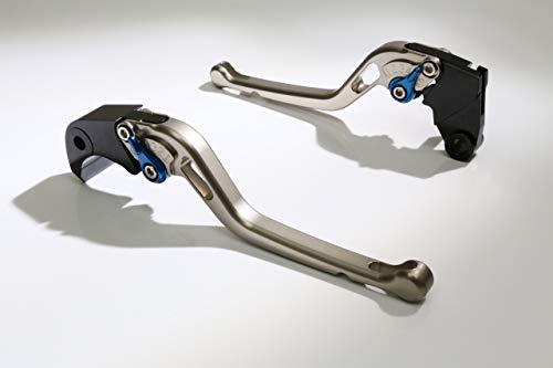 Autobahn88 Motorcycle Clutch + Brake Lever Set for Aprilia : RSV Mille/R (1999-2003) (Long Style : Titanium+Blue/Handle+Adjuster)