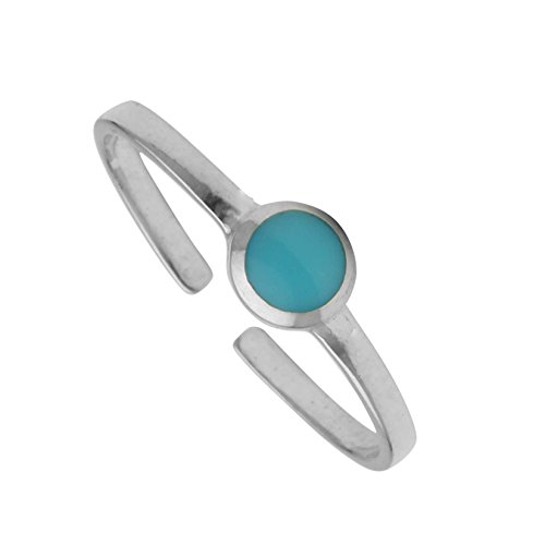 KEZEF Creations High Polished Sterling Silver Reconsitituted Turquoise Round Cabachon Toe (Bezel Toe Ring)