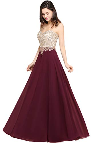 Women Long Chiffon Sleeveless Prom Dress Rhinestone Lace Dress US2 Burgundy