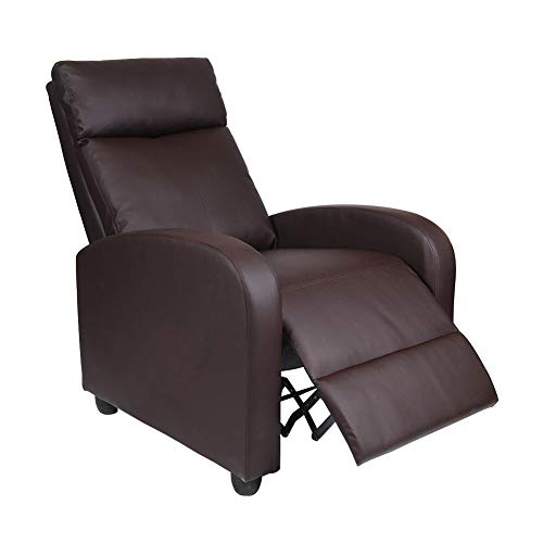 Polar Aurora Single Manual Recliner Chair Padded Seat PU Leather/Fabric Living Room Sofa Modern Recliner Seat Home Theater Seating for Living Room (Brown -PU)