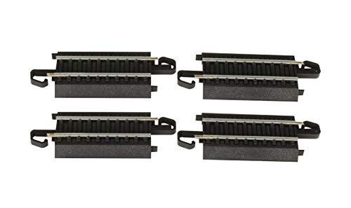 Bachmann Trains - Snap-Fit E-Z TRACK 3 STRAIGHT TRACK (4/card) - STEEL ALLOY Rail With Black Roadbed - HO Scale