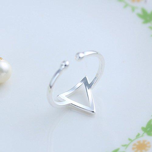 Fashmond- Bague de doigt et phalange triangle ouverte ajustable- Argent fin 925- Idée cadeau anniversaire