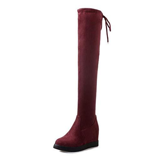 Mujeres 43 Tamaño 34 Interiores Moda Caliente Rojo De Calzado Invierno Haoliequan Mujer Botas Tacones Cuñas Zapatos Plataforma Altos qpwxBBtd