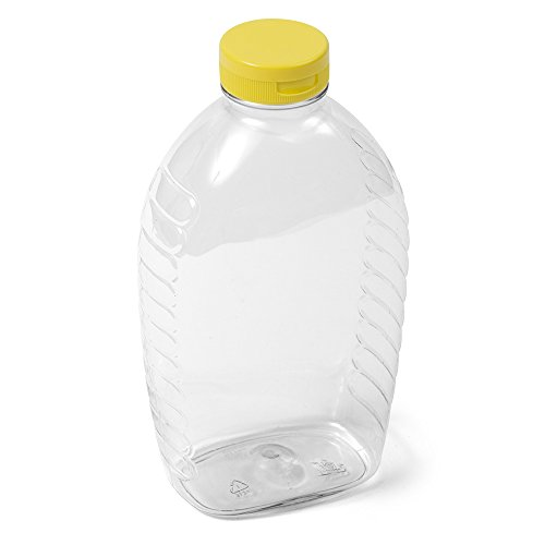 (16) Clear Oval Honey Jar - 32 oz Yellow Flip -