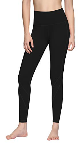 Lingswallow Yoga Pants with Pockets for Women High Waist Tummy Control Workout Running Pants 4 Way Stretch Yoga Leggings XL Black