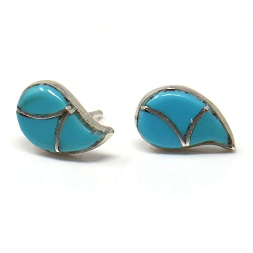 - Zuni Tear Drop Shaped Turquoise Inlay Silver Enhanced Turquoise Earrings | 1/2