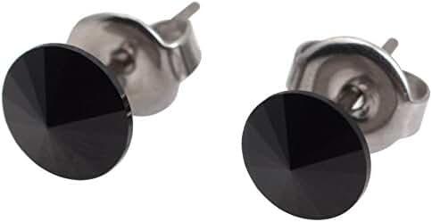galaxyjewelry ONYX Black Titanium Post Earring Stud, No Allergic Reaction