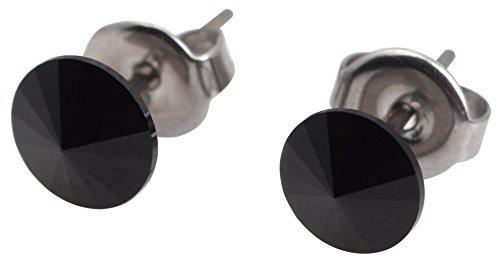 galaxyjewelry ONYX Black Titanium Post Earring Stud, No Allergic Reaction/6mm pair (Onyx Titanium)
