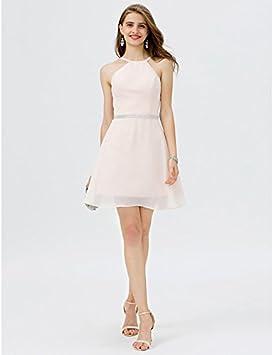 kekafu A-Line Jewel krÓtkie/Mini szyfon satyna sukienka koktajlowa z Crystal szczegÓłÓw z paskiem na szyję/Pasek firmy TS: Sport & Freizeit