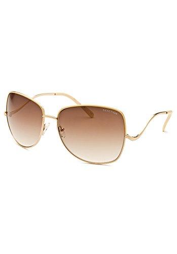 (Kenneth Cole Reaction Shiny Gold Oversized Round Sunglasses )