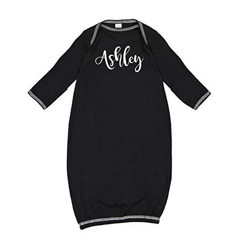 Ashley - Personalized Name Baby Cotton Sleeper Gown (Black Newborn) (In Dress Ashley Black)