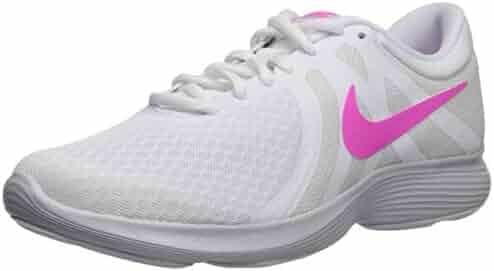 acba1ede4b9ad Nike Women s Revolution 4 Running Shoe White Laser Fuchsia - Pure Platinum  9 Regular US