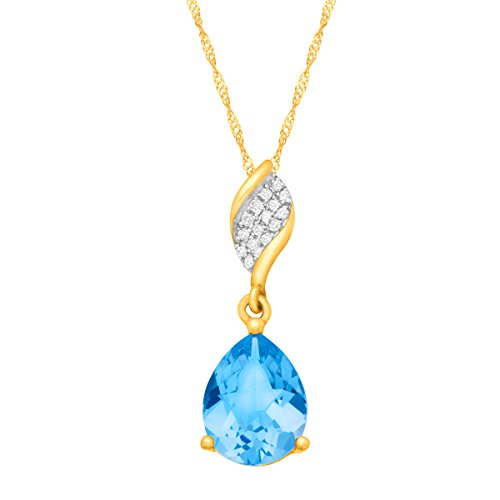 2 1/4 ct Pear-Cut Natural Swiss Blue Topaz Pendant Necklace with Diamonds in 10K Yellow Gold, - Pendant Yellow Cut Swiss