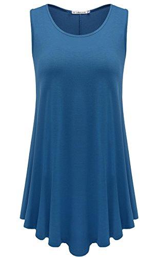 JollieLovin Womens Sleeveless Comfy Plus Size Tunic Tank Top With Flare Hem - Steel Blue, 2X