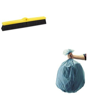 KITRCP501188GRARCP9B0900BLA - Value Kit - Rubbermaid-Black Fine amp; Medium Duty Floor Sweep (RCP9B0900BLA) and Rubbermaid 5011-88 Tuffmade Polyliner Low-Density Can Liners, 55 Gallons (RCP501188GRA)