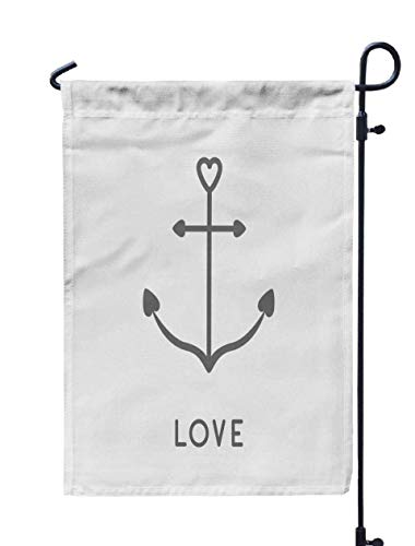 Jacrane Welcome Small Garden Flag 12X18 Inches Ship Anchor Icon in Shapes Heart Nautical Sign Symbol Love Greeting Card Isolated White Double-Sided Seasonal House Yard Flags Decorative]()