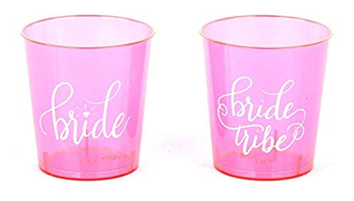 20 PIECE SET of Pink Bride Tribe and Bride Durable Plastic 1 oz. Shot Glasses for Bachelorette Parties, Weddings and Bridal Showers - Pink ()