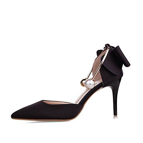AdeeSu Spikes Chaussures Satin Femmes Noir Découpes En Stilettos Fermeture Sans Bas ZTZgw5qRr