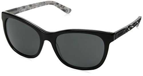 DKNY Women's Plastic Woman Square Sunglasses, Top Black on Grey, 56 mm