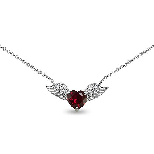 - Sterling Silver Created Ruby & CZ Heart Angel Wings Necklace for Teens, 15