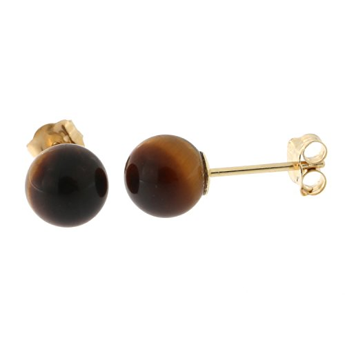 14k Yellow Gold Tigers Eye Ball Stud Earrings, 6mm (14k Tiger Yellow Gold)