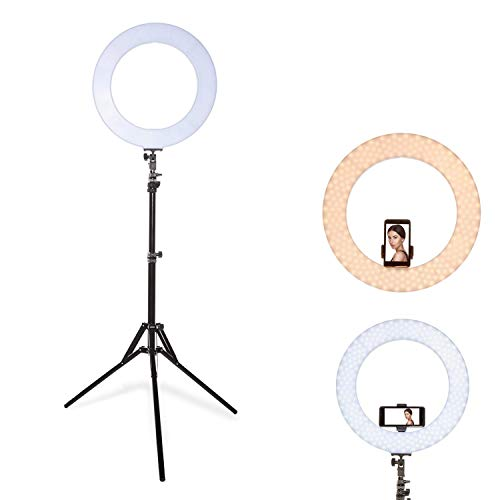 Inkeltech Ring Light – 18 inch 60W Dimmable LED Ring Light Kit with Stand – Adjustable 3000K-6000K Color Temperature Lighting for Vlog, Makeup, YouTube, Camera, Photo, Video – Control with Remote