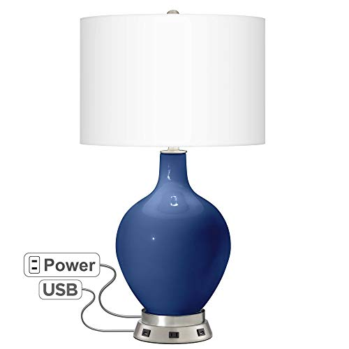 Monaco Blue OVO Table Lamp with USB Workstation Base - Color + Plus ()